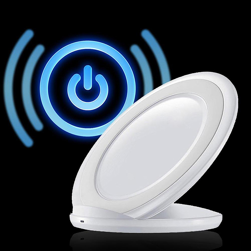 Qi Wireless Charger Fast Charging Stand Dock Pad for Samsung Cellphones - White