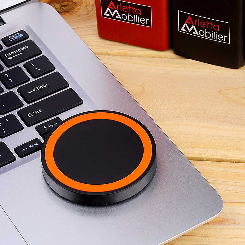 Wireless Charger Pad Qi Standard Transmitter for All Qi-enabled Devices - Black + Orange