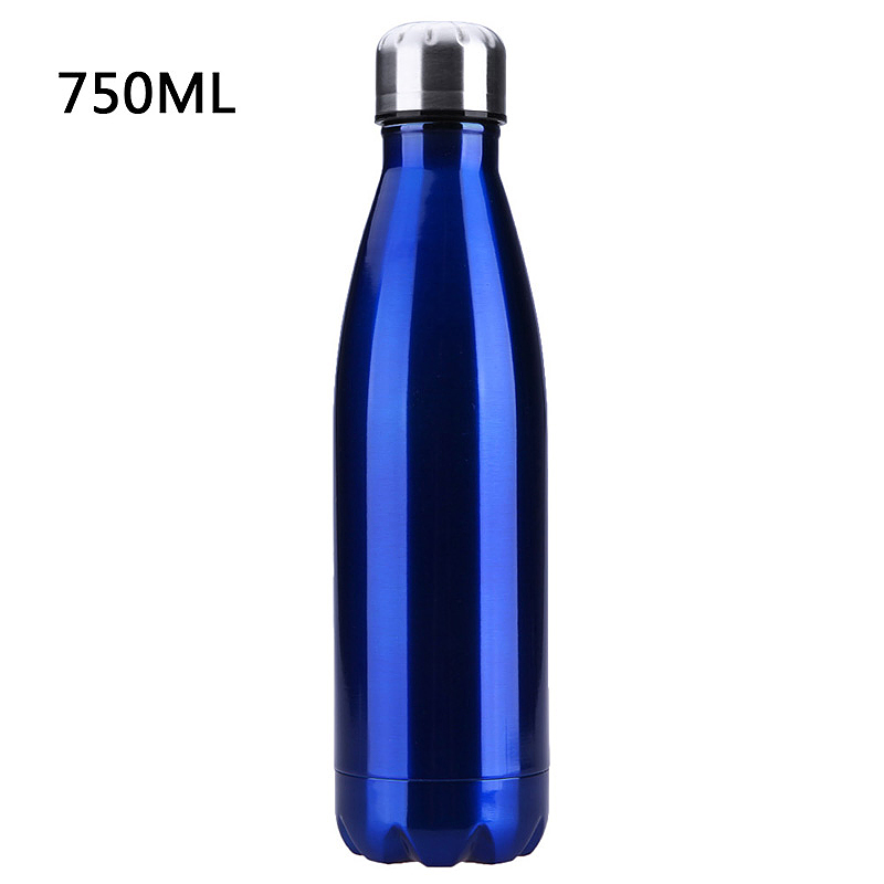 750ML Stainless Steel Vacuum Insulated Water Bottle Leak-proof Double Walled Drinks Bottle - Blue