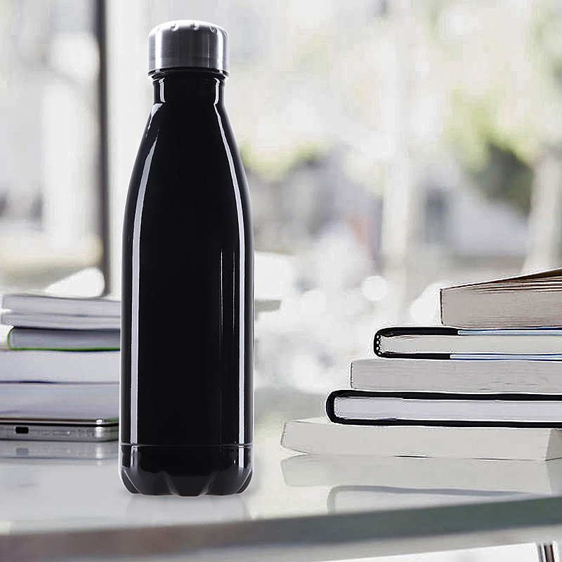 1000ML Double Wall Vacuum Insulated Stainless Steel Water Bottle Cup for Camping Hiking - Black