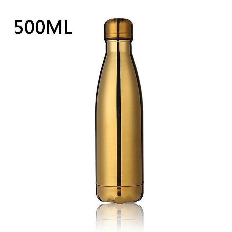 500ML Stainless Thermos Cola Shaped Double Wall Vacuum Water Bottle Flask - Gold Plating