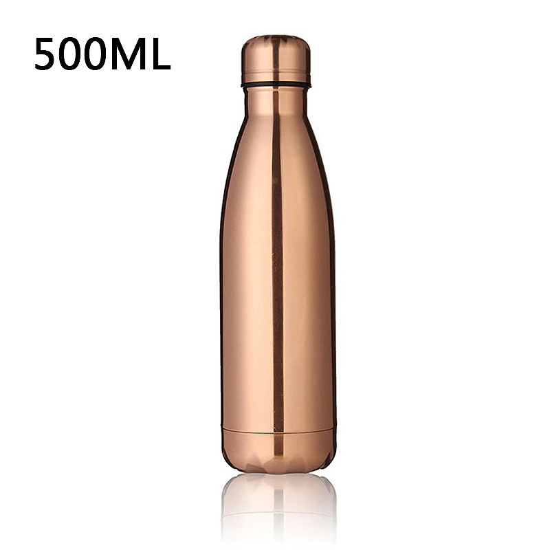 500ML Stainless Thermos Cola Shaped Double Wall Vacuum Water Bottle Flask - Rose Gold Plating