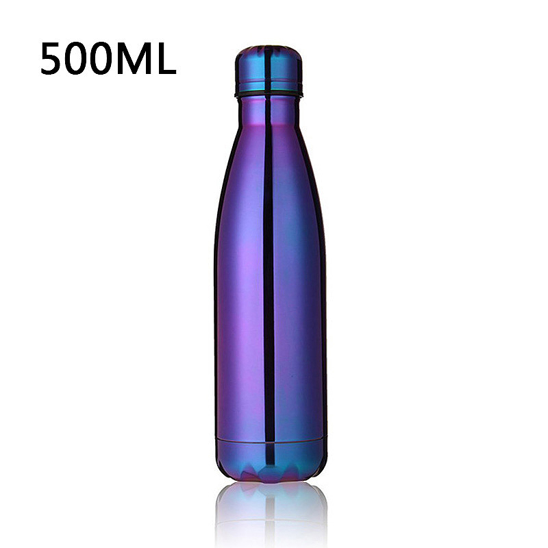500ML Stainless Thermos Cola Shaped Double Wall Vacuum Water Bottle Flask - Colorful Plating