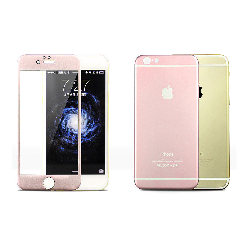 Titanium Alloy Back + Front Tempered Glass Protector Film for Apple iPhone 6 - Rose Gold