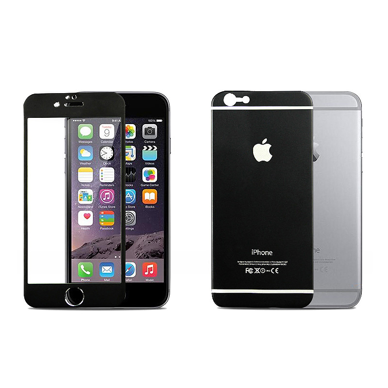 iPhone 6 Plus Protector Front Tempered Glass + Back Titanium Alloy Protector - Black