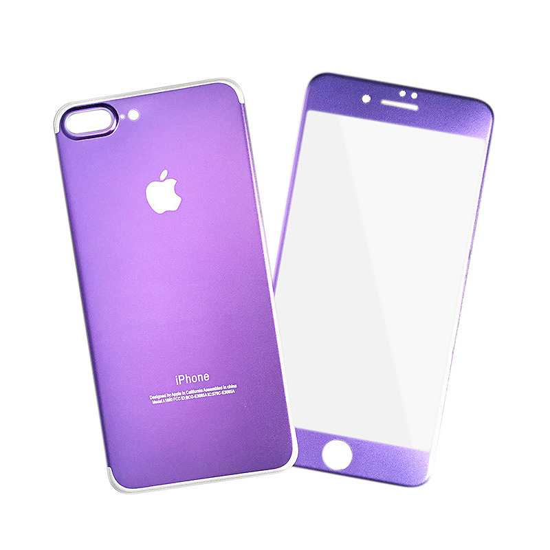 Full Coverage Front + Back Tempered Glass Film Protector for iPhone 7/8 Plus - Purple