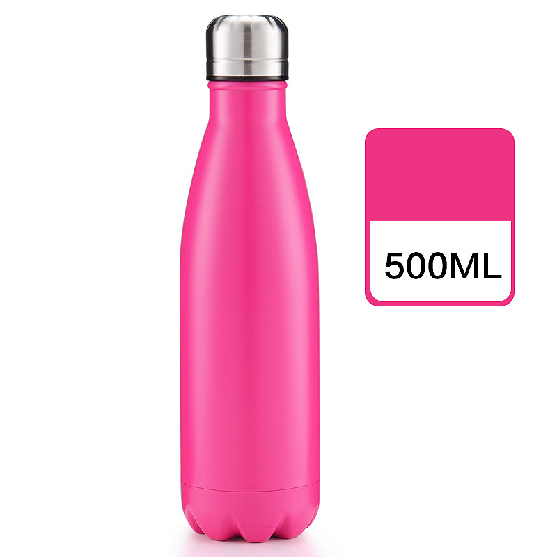 500ml Double Wall Stainless Steel Water Thermos Vacuum Insulated Water Bottle - Matte Rose Red