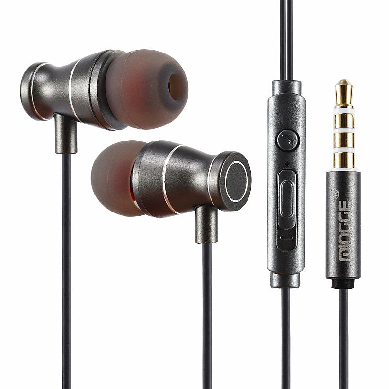 3.5mm Metal Earphone Super Bass Subwoofer In-Ear Earbuds with Mic - Black