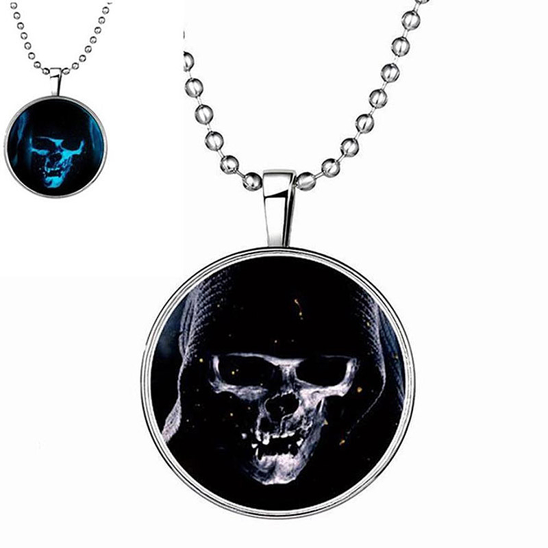 Halloween Skull Head Glow in the Dark Luminous Bracelet Necklace Pendant Gift