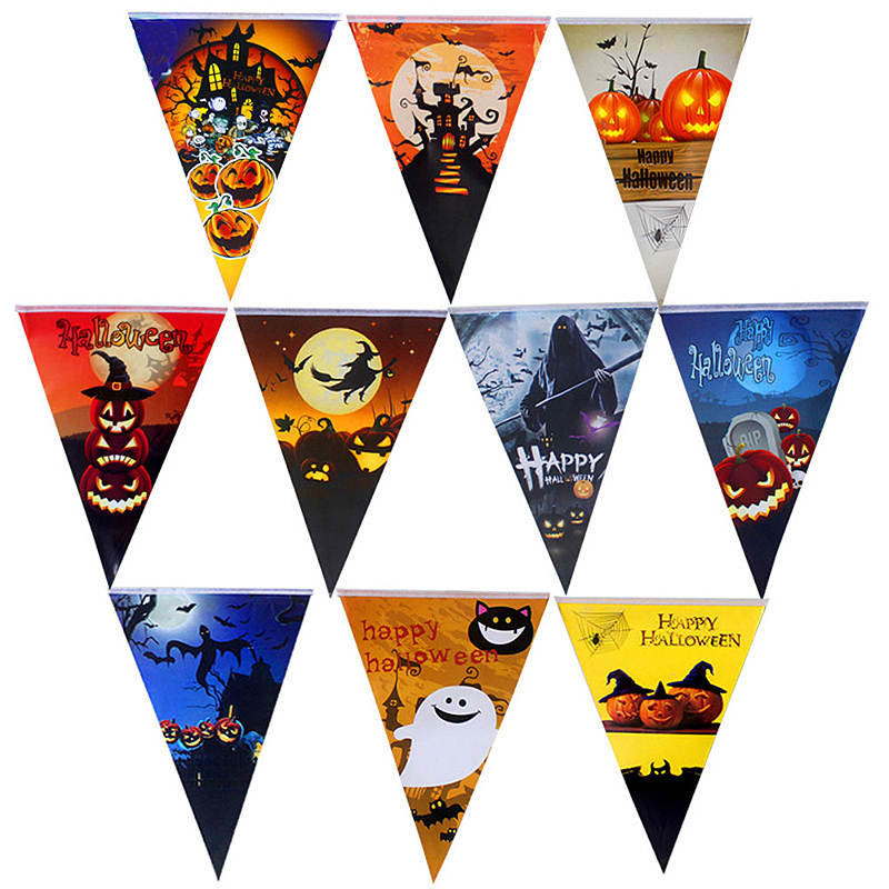 8.2ft Halloween Triangle Flag Paper Pumpkin Pennant Banner Party Decor - Model 1