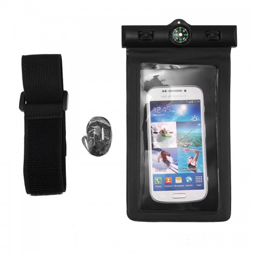 6 inch Universal Waterproof Case Pouch Bag for Phones Camera - Black