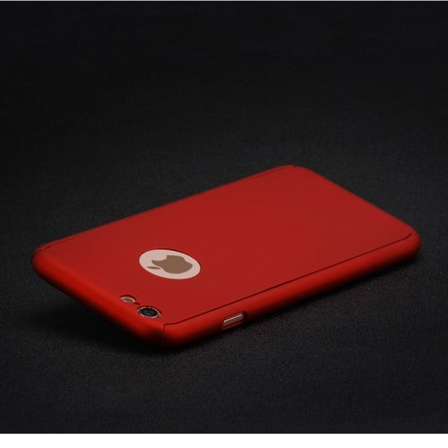 Full Cover Protection Thin Case Cover + Tempered Glass for iPhone 6 4.7 - Red