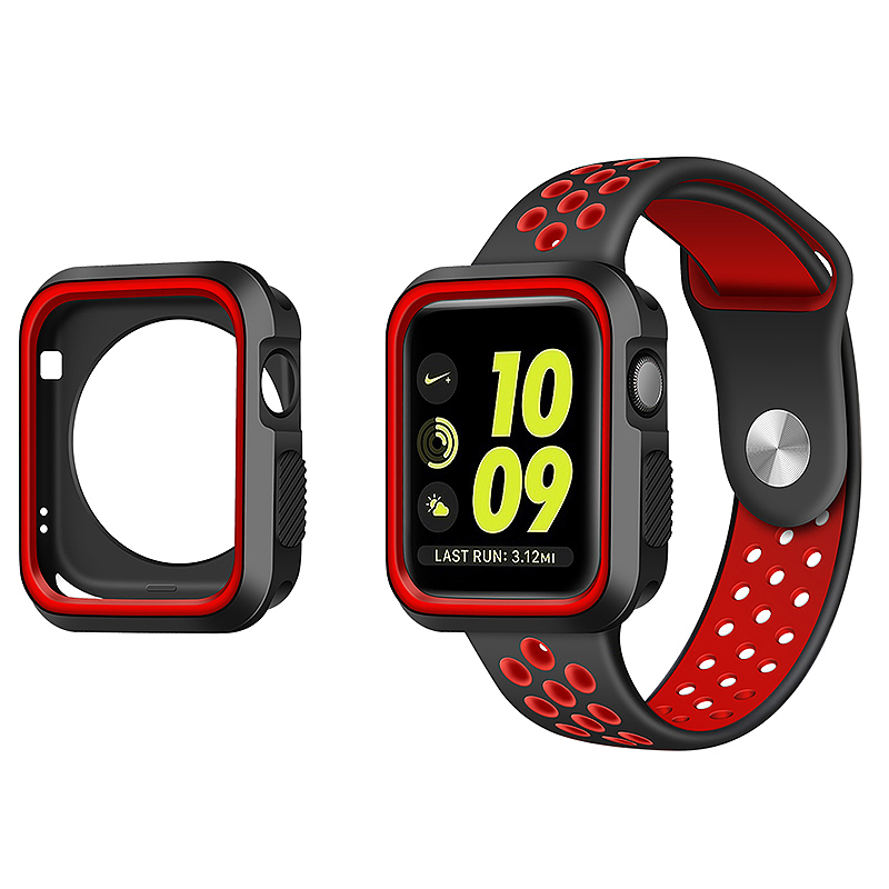 iWatch Sport Strap Wristwatch + Bumper Case for Apple Watch 38mm - Black + Red