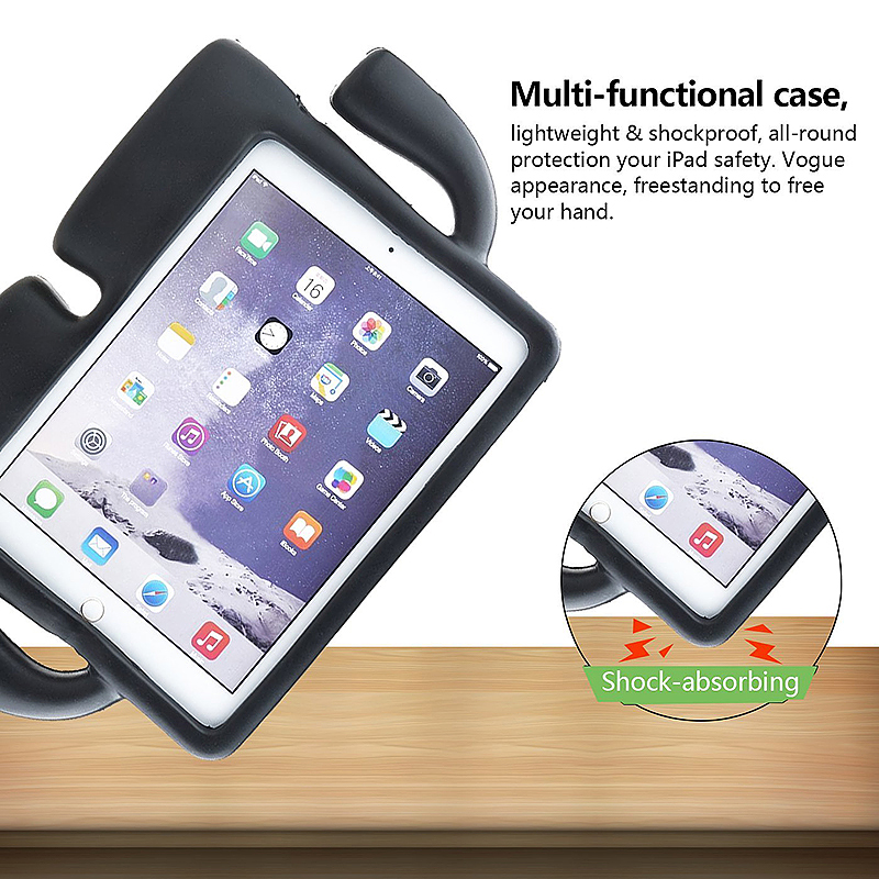 Children Kids Safe Rubber Shockproof EVA Foam Stand Case Cover for iPad Air/Air 2 - Black