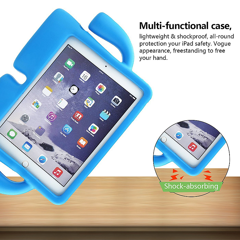 Children Kids Safe Rubber Shockproof EVA Foam Stand Case Cover for iPad Air/Air 2 - Blue
