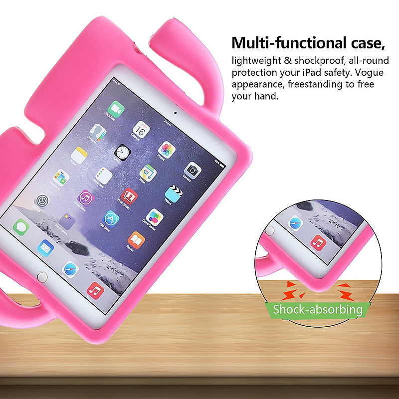 Safe Rubber Shockproof EVA Foam Stand Case Cover for iPad Air/Air 2 - Rose Red