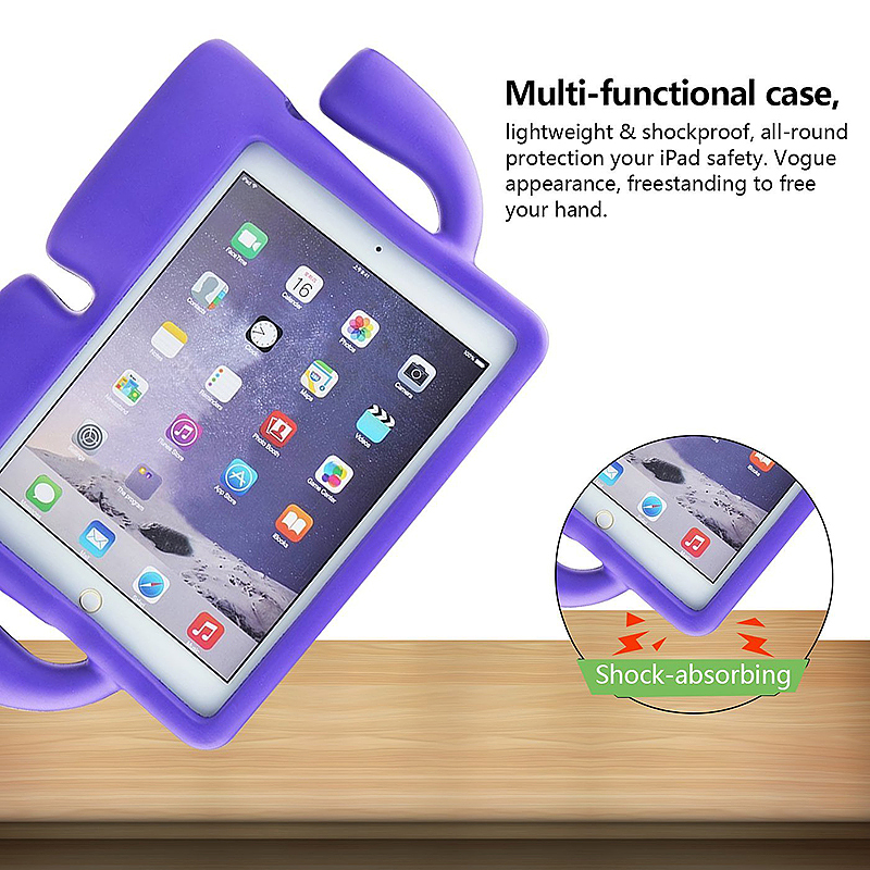 Children Kids Safe Rubber Shockproof EVA Foam Stand Case Cover for iPad Air/Air 2 - Purple