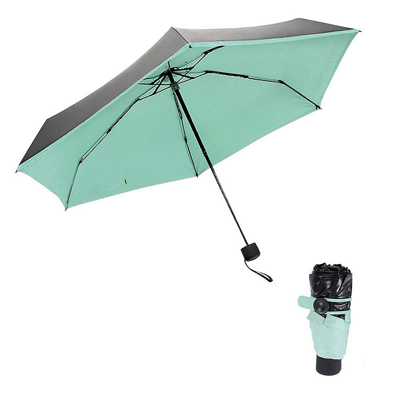 Mini Windproof Sunscreen Foldable Travel Sun Rain Pocket Umbrella for Men Women - Green