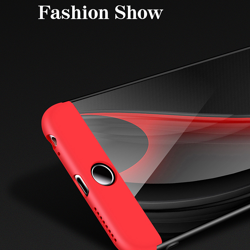 Ultra Thin Hybrid 360 Degree Shockproof Hard Back Case Cover for iPhone 6 6S - Black + Red