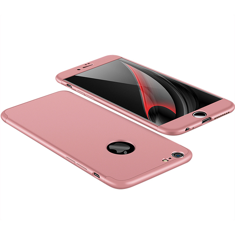 360 Degree Full Protective Shockproof Case Ultra Slim Back Phone Cover for iPhone 6 6S Plus - Rose Golden