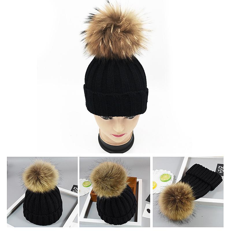80092a71f328f Adults Woman Man Warm Winter Wool Knit Beanie Pom Hat Cap - Black