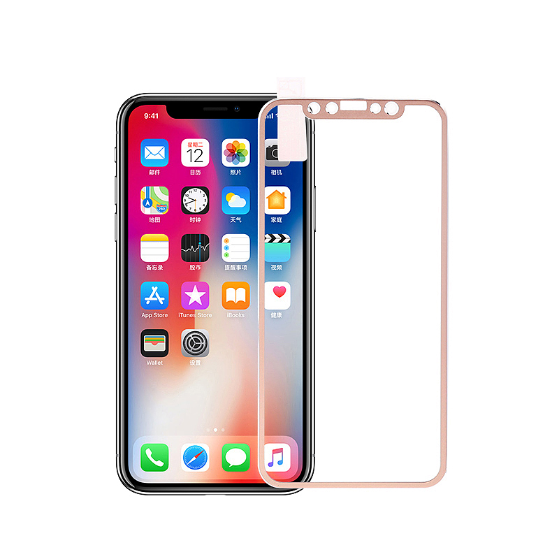 iPhone X/XS 3D Tempered Glass Metal Edge to Edge Screen Protector - Golden