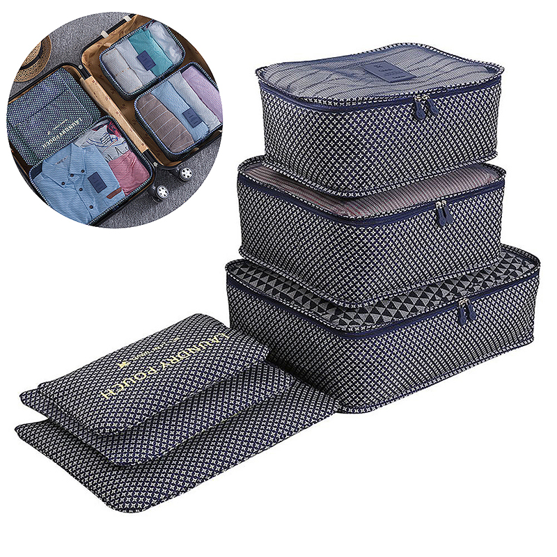 6Pcs Clothes Storage Bags Set Cube Star Printed Travel Home Luggage Organizer Pouch - Blue Star