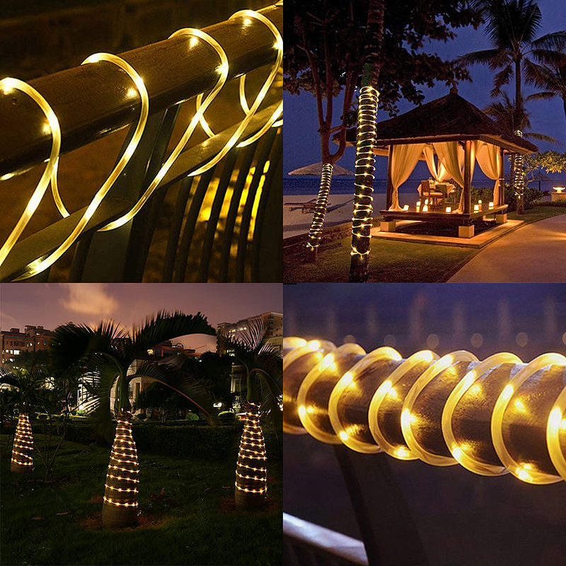 12M 100 LED Solar Power String Light Copper Wire Fairy Decoration Light - Warm White