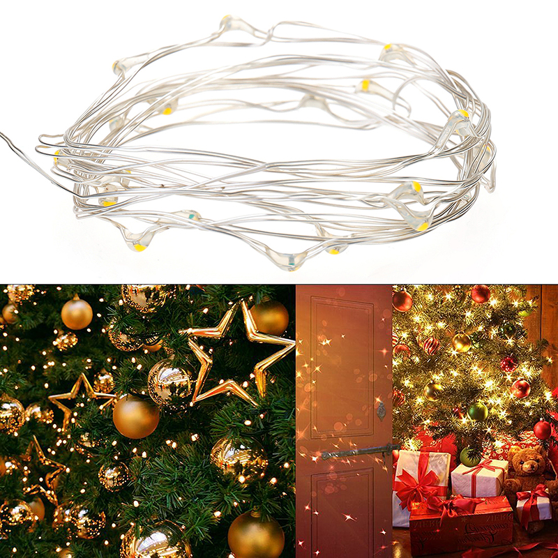 2M 20 LED Battery Powered Wire Waterproof Lights for Party Decoration - Warm White