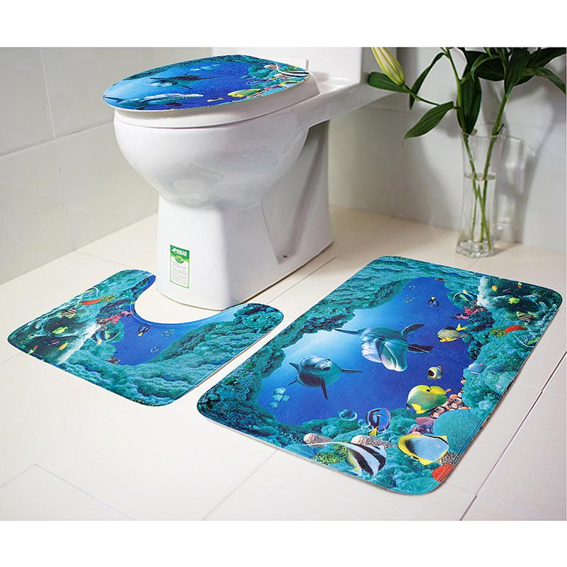 3Pcs Set Bathroom Non-Slip Pedestal Rug + Lid Toilet Cover + Bath Mat - Ocean World