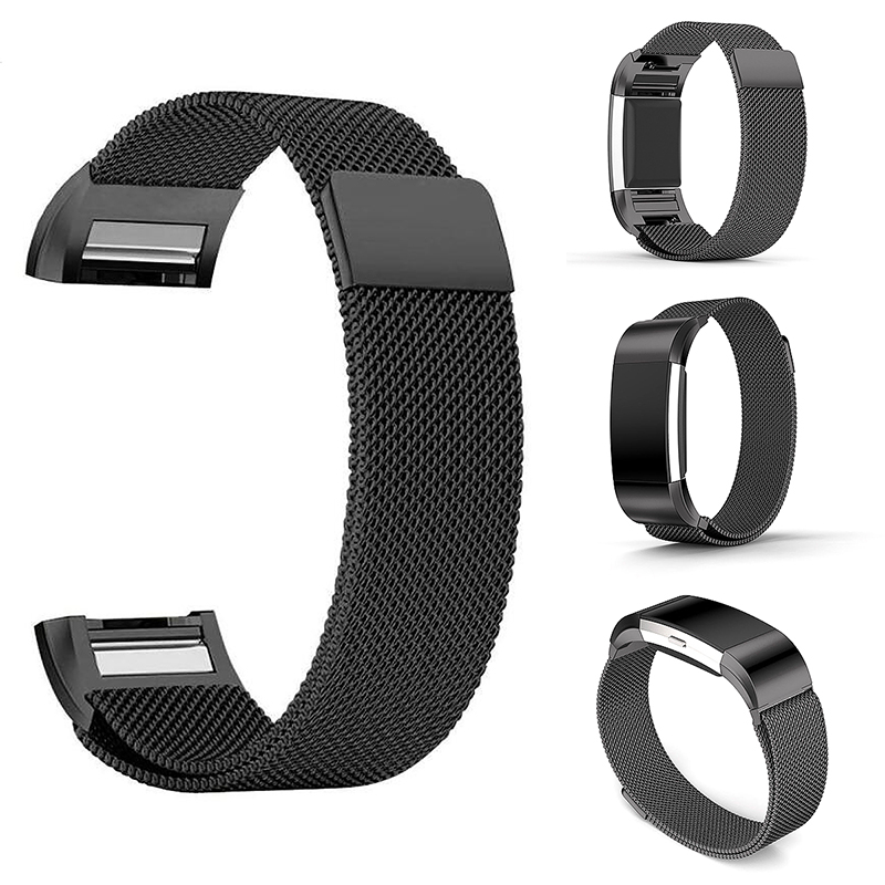 Milanese Magnetic Loop Stainless Steel Strap Watch Band for Fitbit Charge 2 - Black