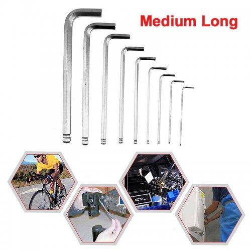 9PCS Ball-end Inner Hexagon Allen Six Wrench L-Type Chrome Spanner Set Suction Card Pack - Medium Length
