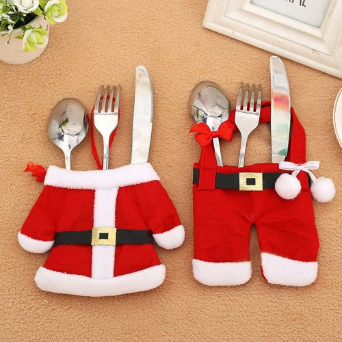 6 x Happy Santa Claus Tableware Silverware Cutlery Suit Christmas Dinner Party Decor