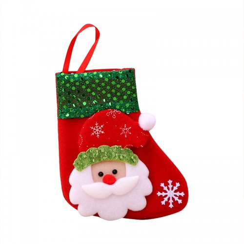 Christmas Socks Small Sequined Christmas Tree Hanging Decorations for Party - Santa Claus