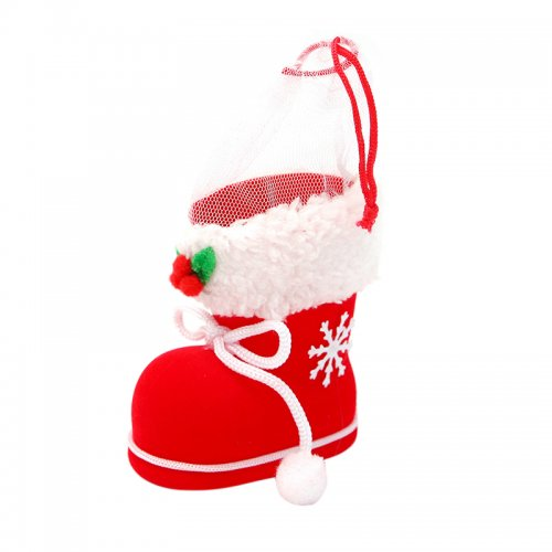 Xmas Santa Boot Shoe Christmas Tree Hanging Decor Candy Gift Saver Bag - Size S