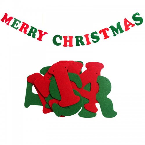 Christmas Pennant Flags Banner Bunting Home Wall Hanging Party Decoration - Christmas Letters