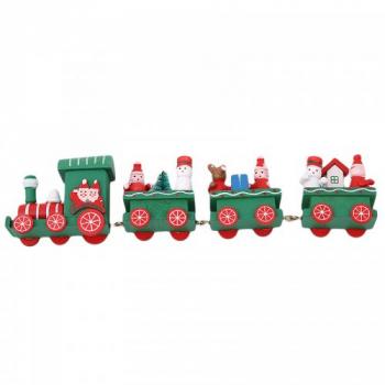 Christmas Wooden Train Xmas Cartoon Santa Claus Ornament Home Decor Gift Toy - Green