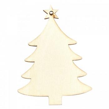 10Pcs Christmas Wooden Chip Ornament DIY Xmas Tree Hanging Pendant Decoration Gifts - Christmas Tree