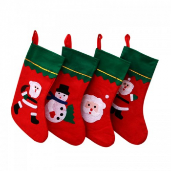 Christmas Sock Cute Santa Claus Ornament Party Tree Hanging Decorative Gifts Random Pattern - Green + Red