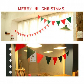 Christmas Pennant Flags Banner Bunting Home Wall Hanging Party Decoration - Triangle