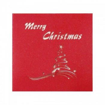 Christmas Handcrafted Origami Cards 3D Christmas Tree Greeting Postcards - Red