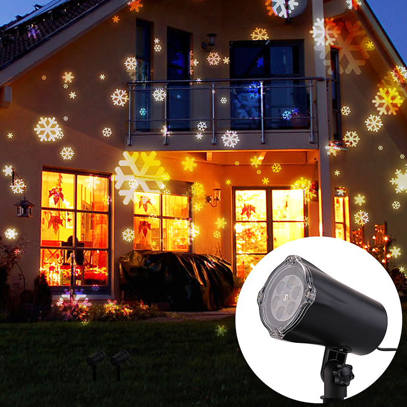 Moving Snowflake LED Laser Light Projector Lamp Garden For Xmas Party Decor