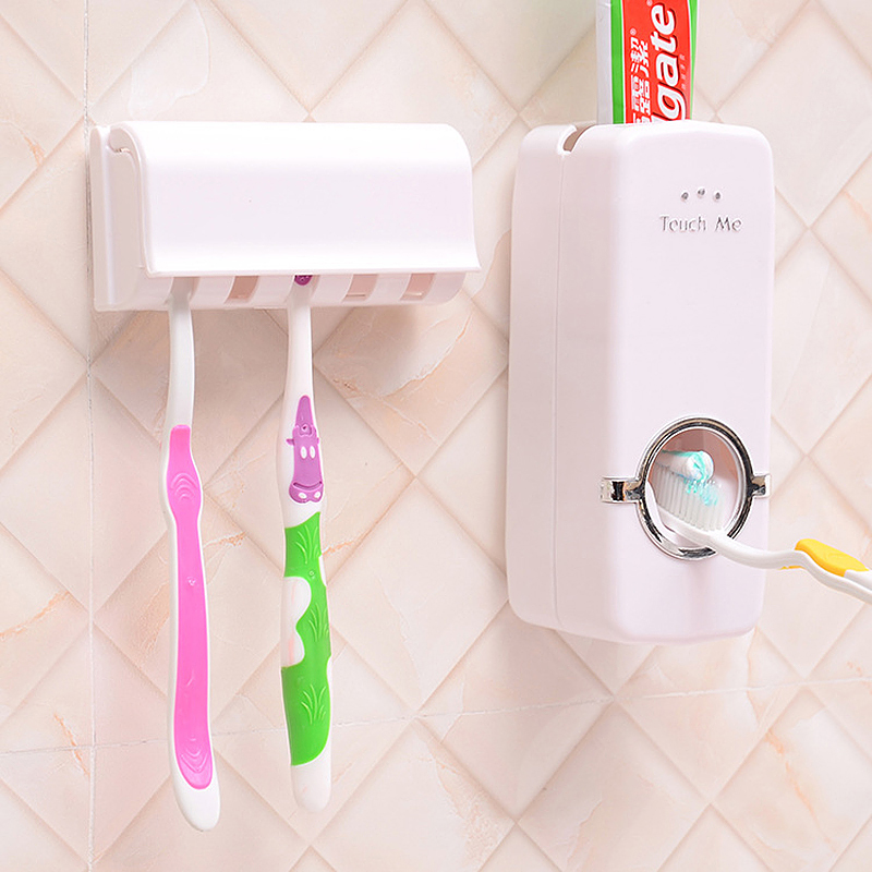Automatic Toothpaste Dispenser + 5 Toothbrush Holder Stand Wall Mounted for Bathroom - White