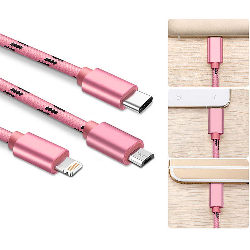 0.3M 3 in 1 Lightning Micro USB Type-C Data Knit Charging Cable for iPhone X 8 Samsung Huawei - Rose Golden