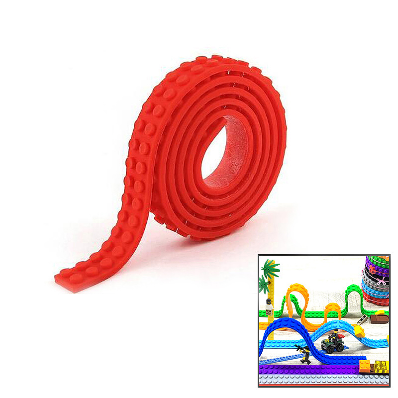 1M Lego Compatible 3M Tape Strip Toy Block Bendable Flexible Corners Educational Toys - Red