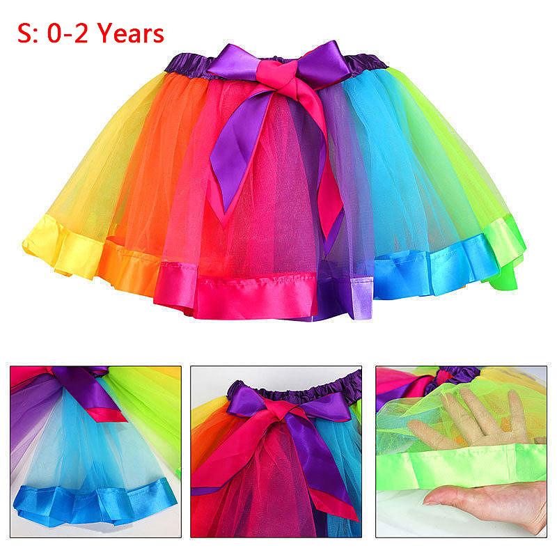 Girl Kid Baby Rainbow Color Tutu UK Dance Skirt Party Costume Fancy Tutu Petti Dress - Size S