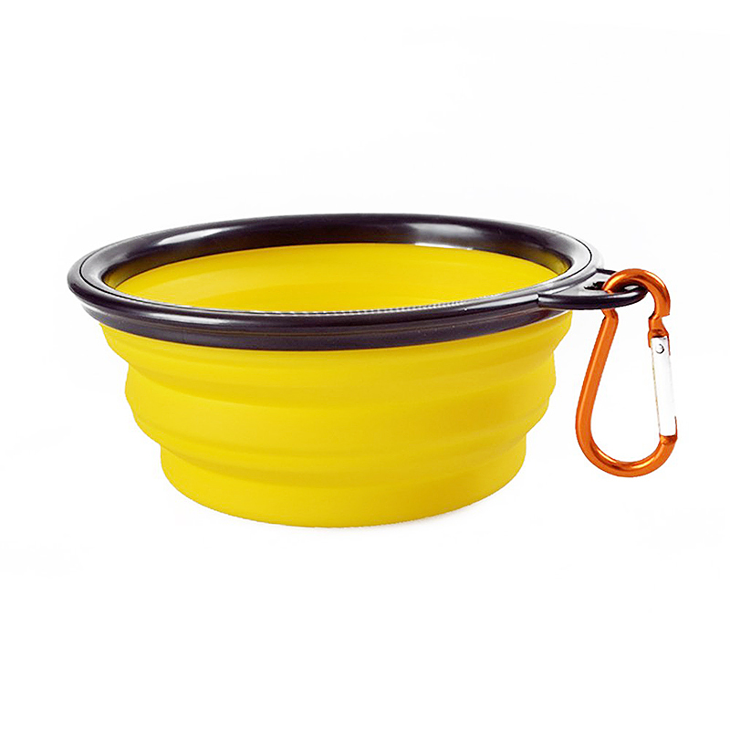 Pet Dog Cat Silicone Collapsible Feeding Bowl Travel Portable Bowl with Metal Buckle - Yellow