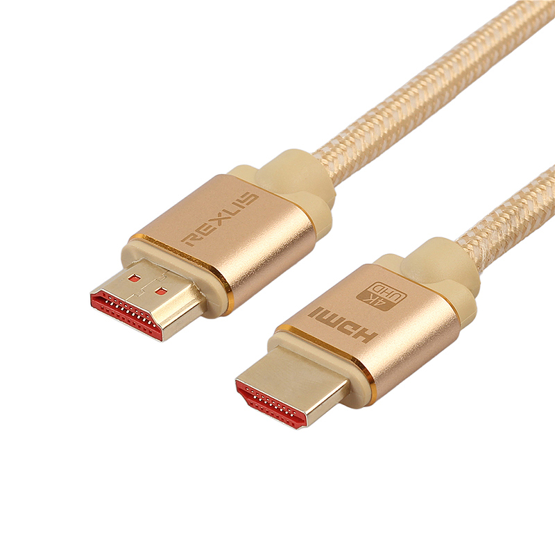 HDMI Cable 2.0 Gold-Plated Cotton Braided Aluminum Alloy Shell HDMI Plug Cable Cord - 3M