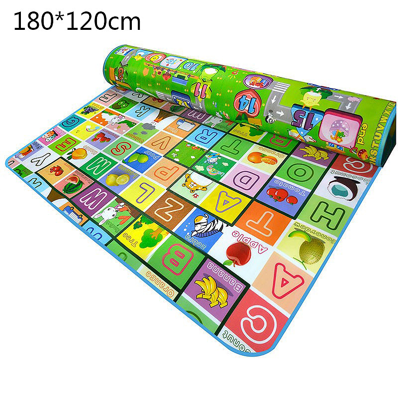 180x120cm Double Side Kids Crawling Mat Baby Play Game Carpet Mat Educational Toy