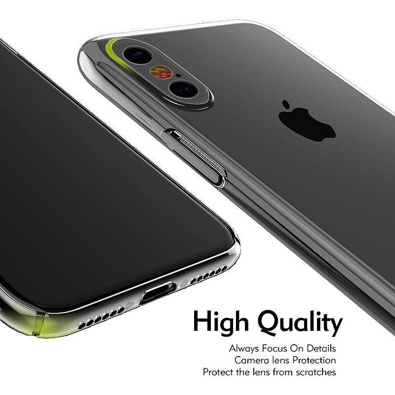 Ultra Slim Thin Transparent PC Case Clear Hard Phone Case Cover for iPhone X/XS